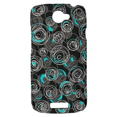 Gray and blue abstract art HTC One S Hardshell Case