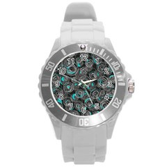 Gray and blue abstract art Round Plastic Sport Watch (L)