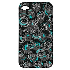 Gray and blue abstract art Apple iPhone 4/4S Hardshell Case (PC+Silicone)
