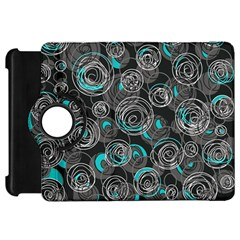 Gray and blue abstract art Kindle Fire HD Flip 360 Case