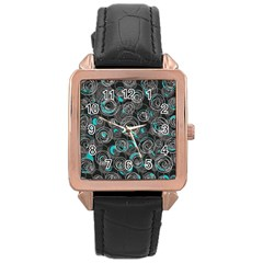 Gray and blue abstract art Rose Gold Leather Watch