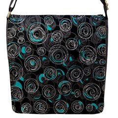 Gray and blue abstract art Flap Messenger Bag (S)