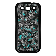 Gray and blue abstract art Samsung Galaxy S3 Back Case (Black)