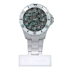 Gray and blue abstract art Plastic Nurses Watch