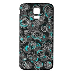 Gray and blue abstract art Samsung Galaxy S5 Back Case (White)