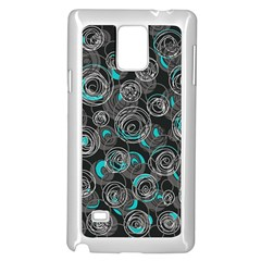 Gray and blue abstract art Samsung Galaxy Note 4 Case (White)