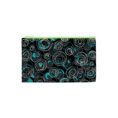 Gray and blue abstract art Cosmetic Bag (XS)