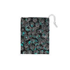 Gray and blue abstract art Drawstring Pouches (XS)