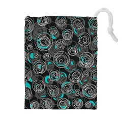 Gray and blue abstract art Drawstring Pouches (Extra Large)