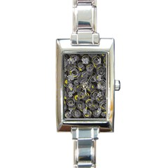 Gray and yellow abstract art Rectangle Italian Charm Watch