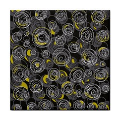 Gray and yellow abstract art Tile Coasters