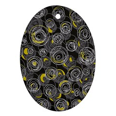 Gray and yellow abstract art Ornament (Oval)