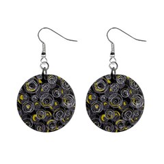 Gray and yellow abstract art Mini Button Earrings