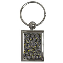 Gray and yellow abstract art Key Chains (Rectangle)