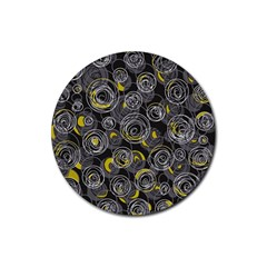 Gray and yellow abstract art Rubber Coaster (Round)