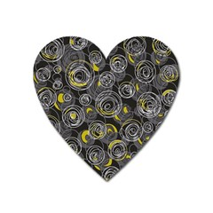 Gray and yellow abstract art Heart Magnet