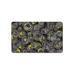 Gray and yellow abstract art Magnet (Name Card)