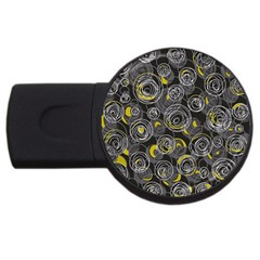 Gray and yellow abstract art USB Flash Drive Round (1 GB)