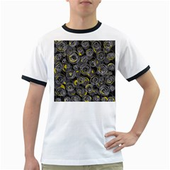 Gray and yellow abstract art Ringer T-Shirts