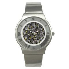 Gray and yellow abstract art Stainless Steel Watch