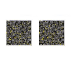 Gray and yellow abstract art Cufflinks (Square)