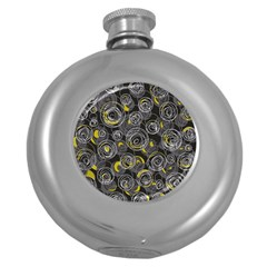 Gray and yellow abstract art Round Hip Flask (5 oz)