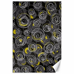Gray and yellow abstract art Canvas 12  x 18