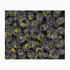 Gray and yellow abstract art Small Glasses Cloth (2-Side)