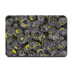 Gray and yellow abstract art Small Doormat