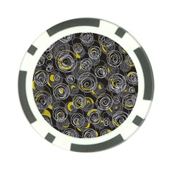Gray and yellow abstract art Poker Chip Card Guards