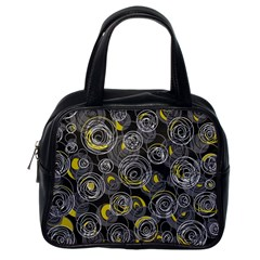 Gray and yellow abstract art Classic Handbags (One Side)