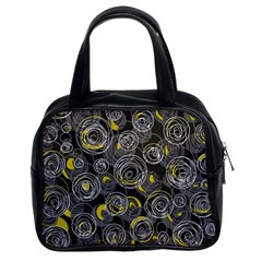 Gray and yellow abstract art Classic Handbags (2 Sides)
