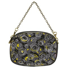 Gray and yellow abstract art Chain Purses (Two Sides)