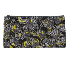 Gray and yellow abstract art Pencil Cases