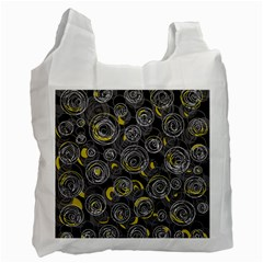 Gray and yellow abstract art Recycle Bag (One Side)