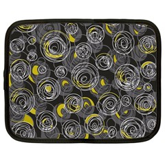 Gray and yellow abstract art Netbook Case (XXL)