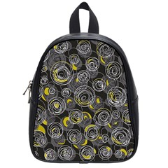 Gray and yellow abstract art School Bags (Small)