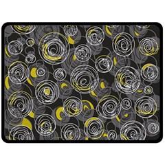 Gray and yellow abstract art Fleece Blanket (Large)
