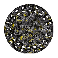 Gray and yellow abstract art Round Filigree Ornament (2Side)