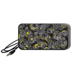 Gray and yellow abstract art Portable Speaker (Black)