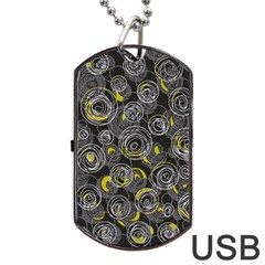 Gray and yellow abstract art Dog Tag USB Flash (One Side)