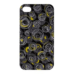 Gray and yellow abstract art Apple iPhone 4/4S Premium Hardshell Case