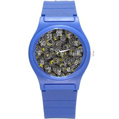Gray and yellow abstract art Round Plastic Sport Watch (S)