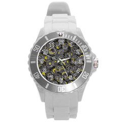 Gray and yellow abstract art Round Plastic Sport Watch (L)