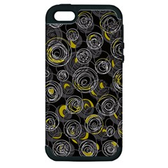 Gray and yellow abstract art Apple iPhone 5 Hardshell Case (PC+Silicone)