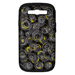 Gray and yellow abstract art Samsung Galaxy S III Hardshell Case (PC+Silicone)