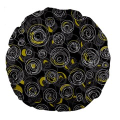 Gray and yellow abstract art Large 18  Premium Round Cushions