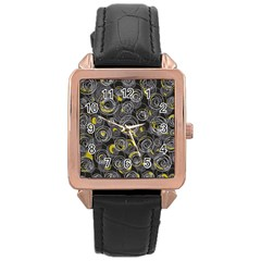 Gray and yellow abstract art Rose Gold Leather Watch