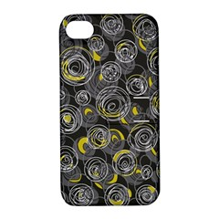 Gray and yellow abstract art Apple iPhone 4/4S Hardshell Case with Stand