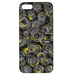 Gray and yellow abstract art Apple iPhone 5 Hardshell Case with Stand